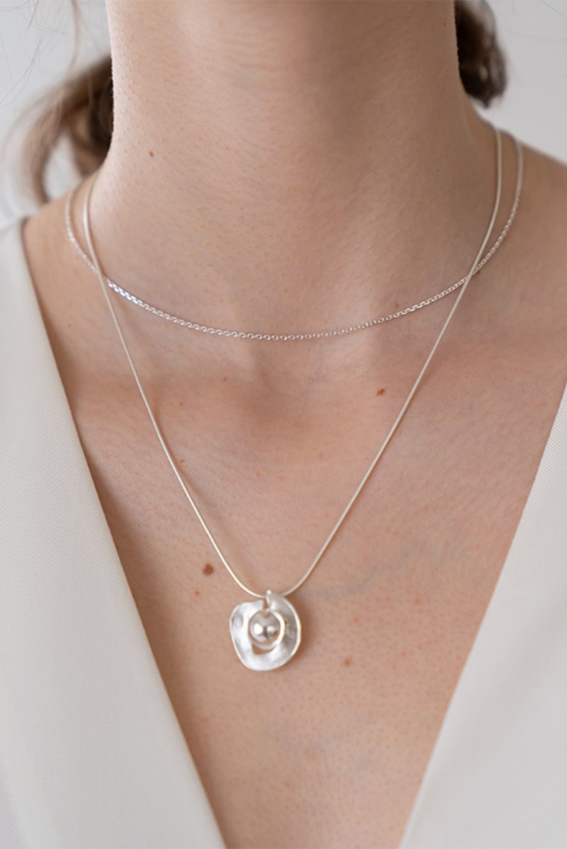 '004 COLLECTION' BALL WITH CONCAVE PENDANT NECKLACE